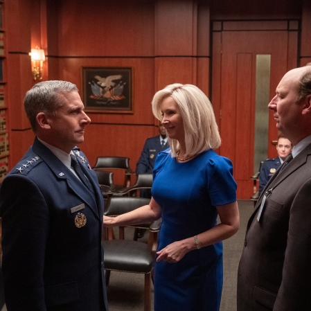 """Steve Carell as General Mark R. Naird and Lisa Kudrow as Maggie Naird in """"Space Force."""" (Photo courtesy of Netflix)"""