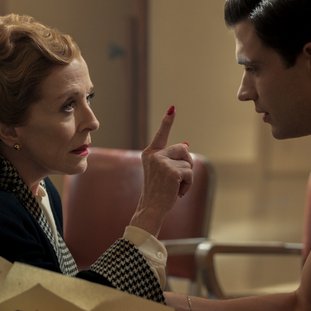 """Holland Taylor as Ellen Kincaid and David Corenswet as Jack in """"Hollywood."""" (Photo courtesy of Netflix)"""