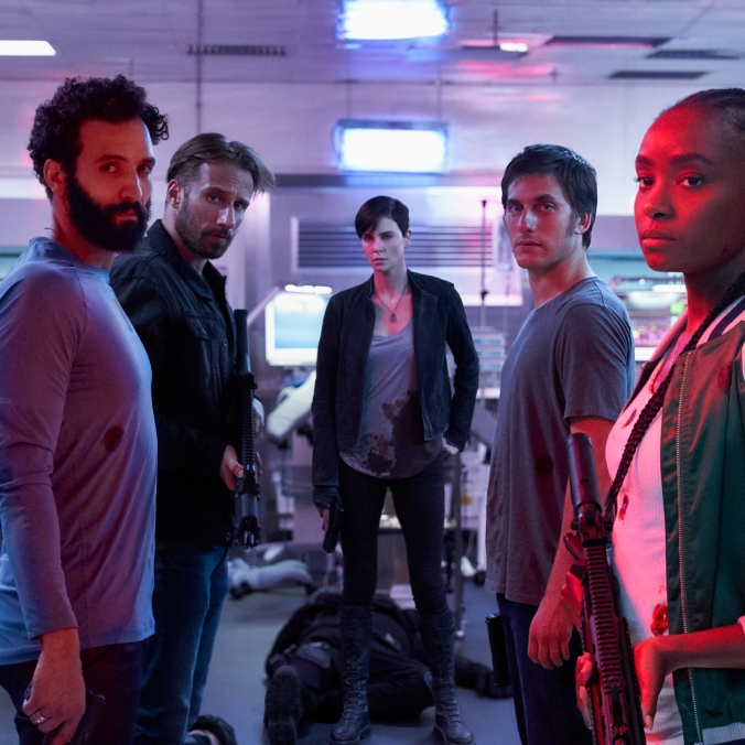 "Marwan Kenzari as Joe, Matthias Schoenaerts as Booker, Charlize Theron as Andy, Luca Marinelli as Nicky and Kiki Layne as Nile in ""The Old Guard."" (Photo courtesy of Netflix)"